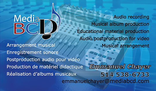 Carte d'affaires Media BCD